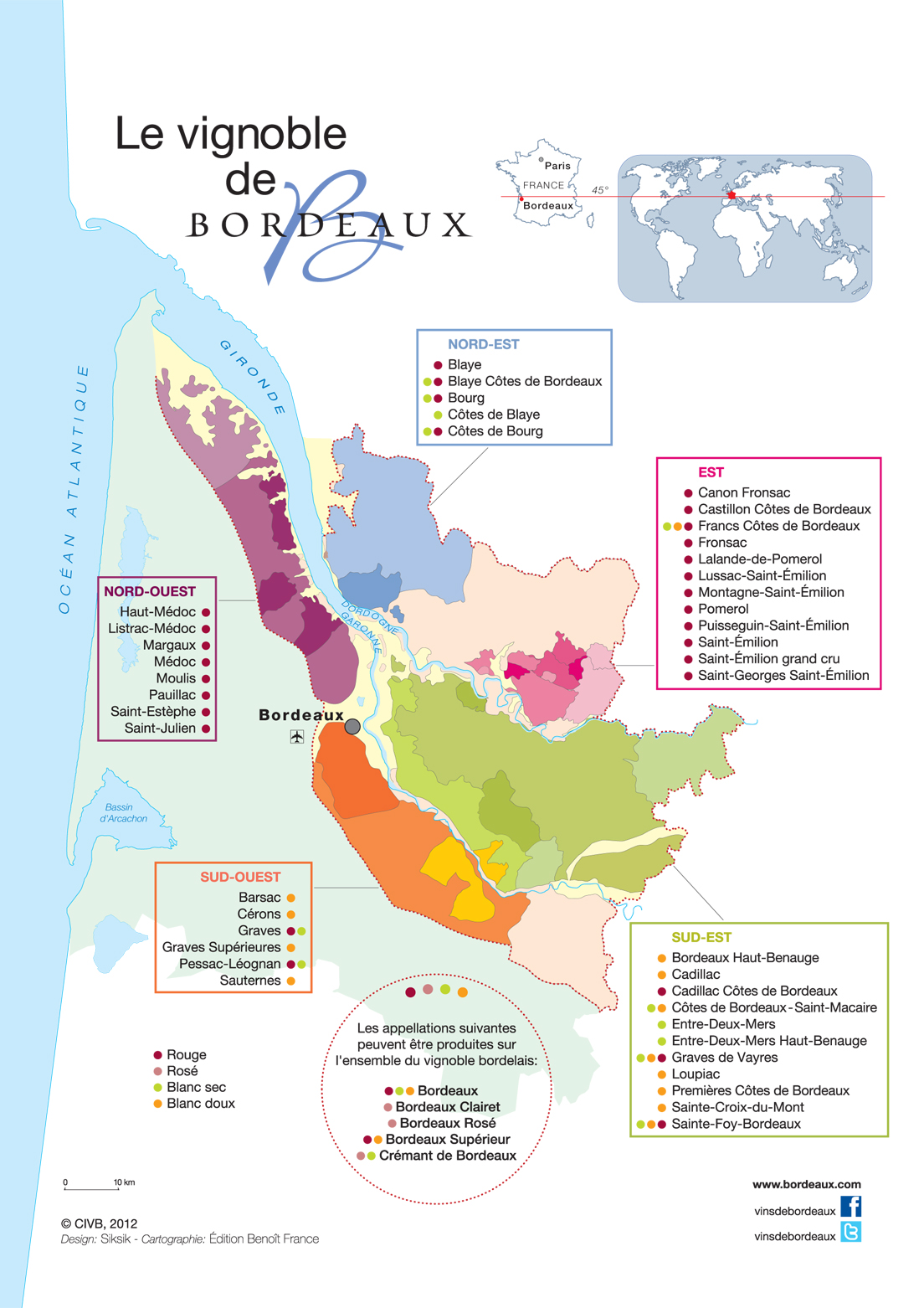 Carte des appellations de Bordeaux